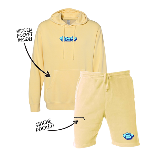 Pigment Dyed Hāto Stache Sweatsuit - Yellow
