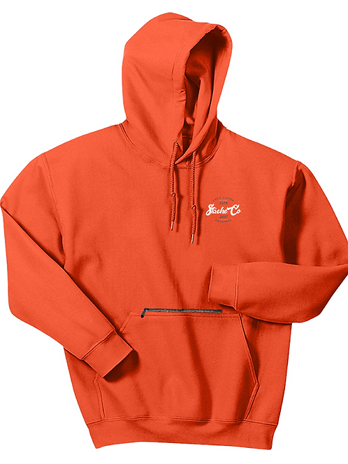 Original Stache Hoodie - White/Gray on Orange