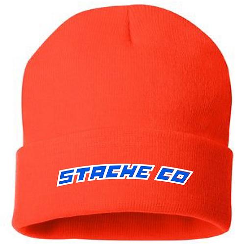 Stache Co Beanie - Navy/White on Orange