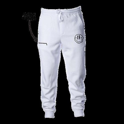 Smiley Stache Sweatpants - White