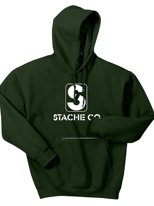 Classic Stache Hoodie - White on Forest