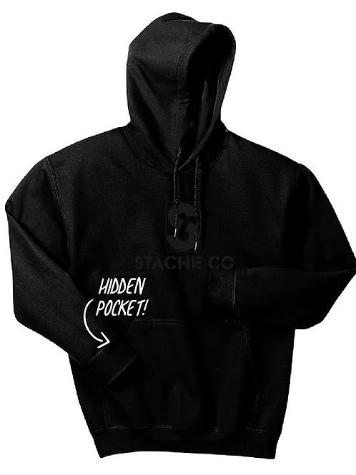 Classic Stache Hoodie - Black on Black