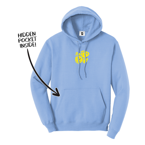 Melted Smiley Stache Hoodie - Blue