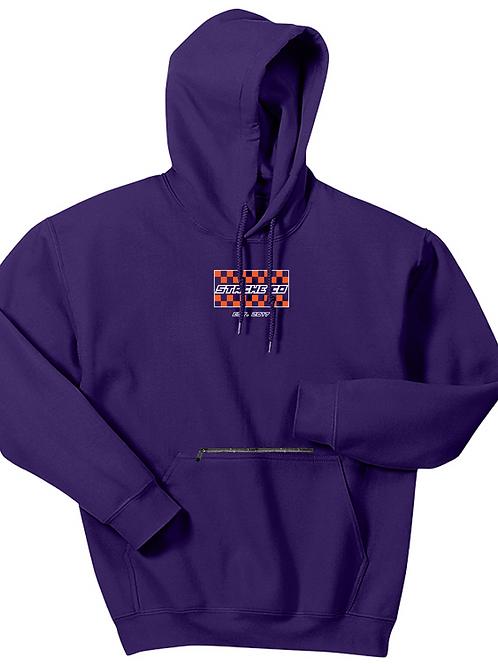 Checkered Flag Stache Hoodie - Orange/White on Purple