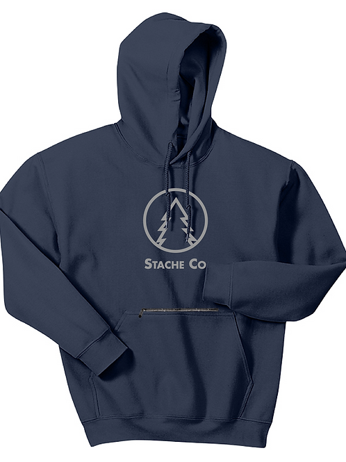 Pine Tree Stache Hoodie - Gray on Navy