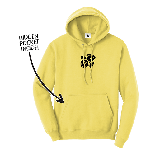 Melted Smiley Stache Hoodie - Yellow