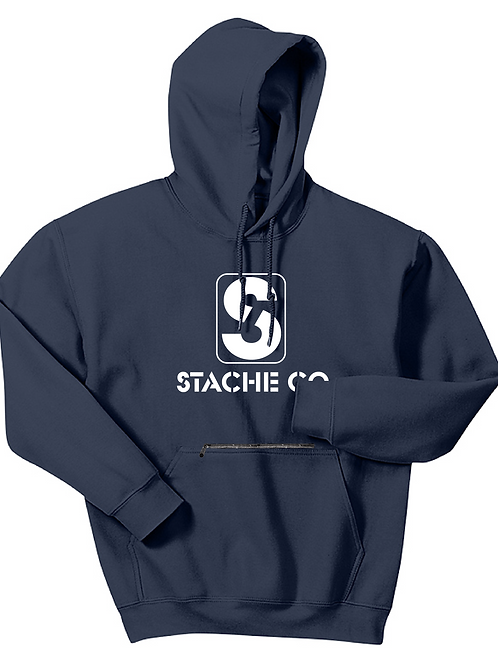 Classic Stache Hoodie - White on Navy