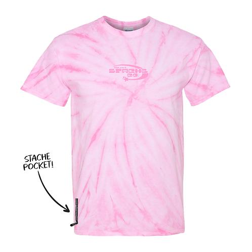 Tie Dye Hoshi Stache Tee - Pink