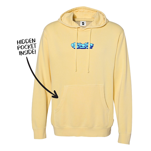 Pigment Dyed Hāto Stache Hoodie - Yellow