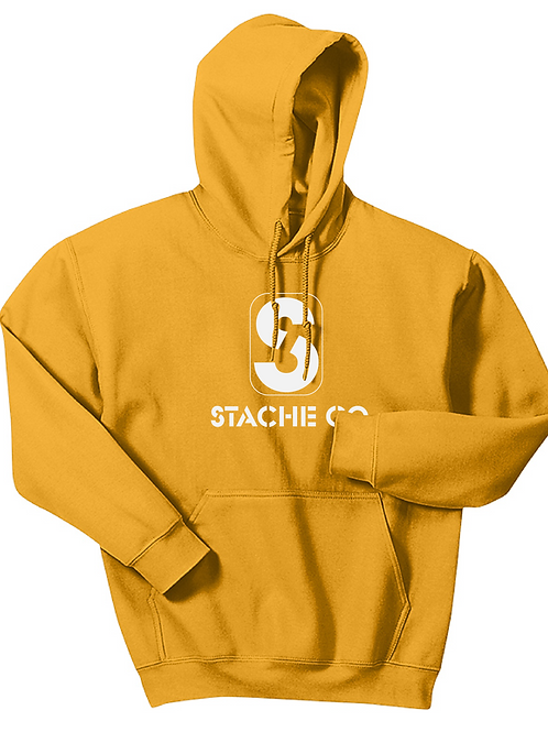 Classic Stache Hoodie - White on Gold