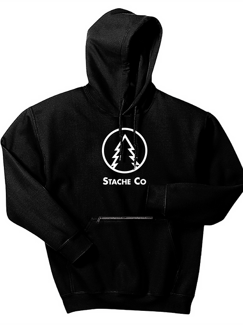 Pine Tree Stache Hoodie - White on Black