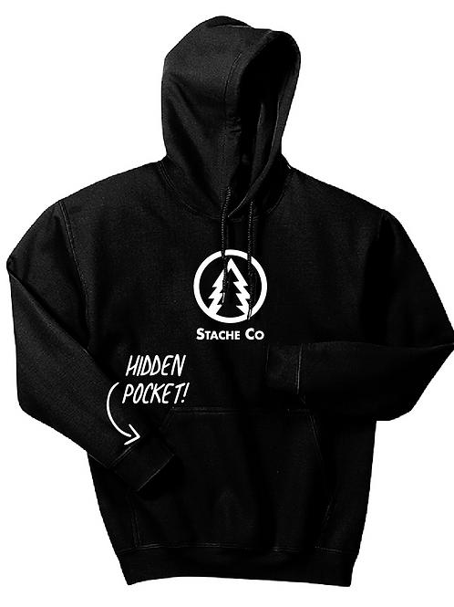 Pine Tree Stache Hoodie - Black