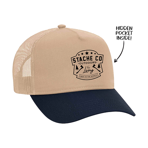 Stache Co Outdoors Trucker Hat - Navy/Tan