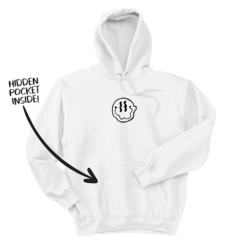 Smiley Stache Hoodie - White
