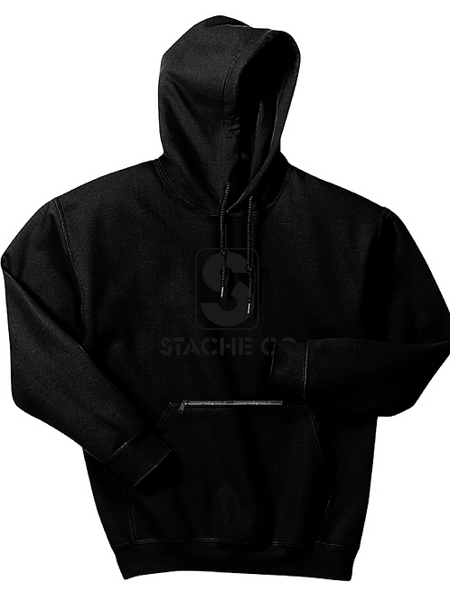 Classic Stache Hoodie - Black on Black