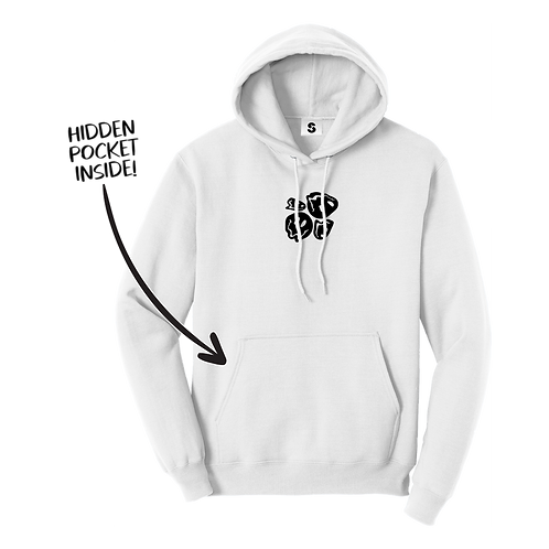 Melted Smiley Stache Hoodie - White