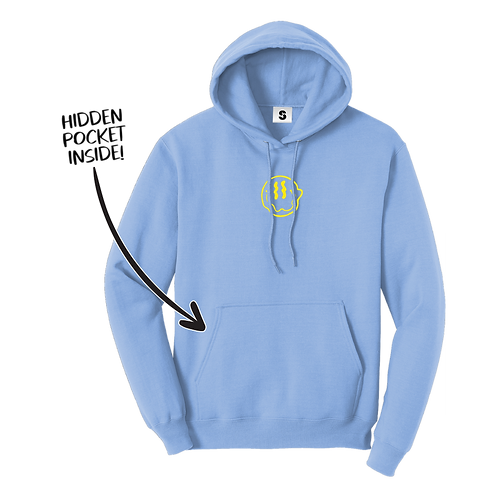 Smiley Stache Hoodie - Blue