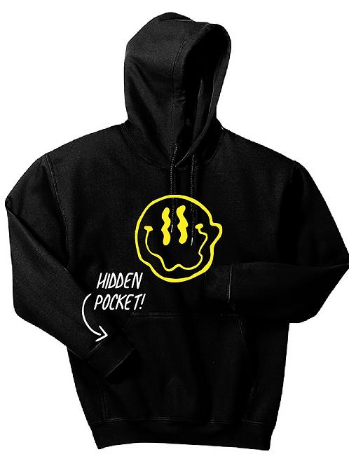 Smiley Stache Hoodie - Black