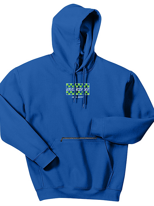 Checkered Flag Stache Hoodie - Green/White on Royal