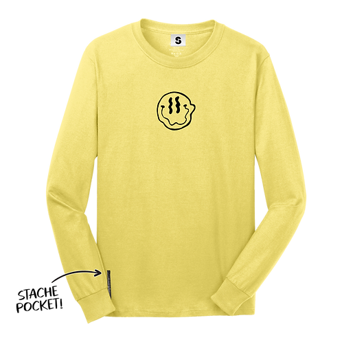 Smiley Stache L/S Tee - Yellow
