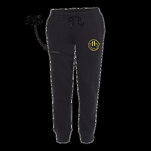 Smiley Stache Sweatpants - Black