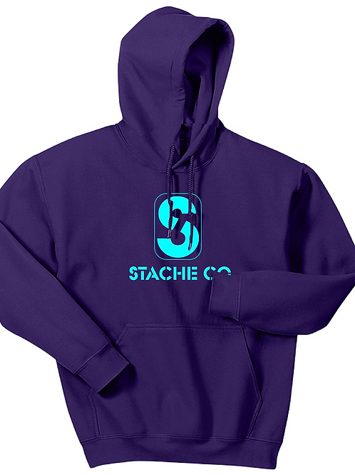 Classic Stache Hoodie -Electric Blue on Purple