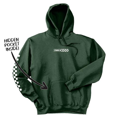 Checker Stache Hoodie - Forest