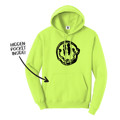 Trippy Smiley Stache Hoodie - Neon Yellow
