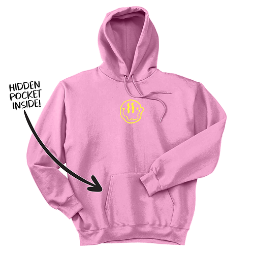 Smiley Stache Hoodie - Pink
