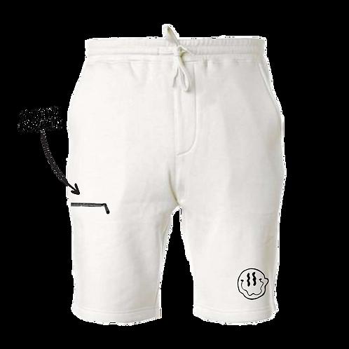 Smiley Stache Shorts - White