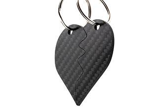 Whole half heart, 100% Carbon Fibre Keychain
