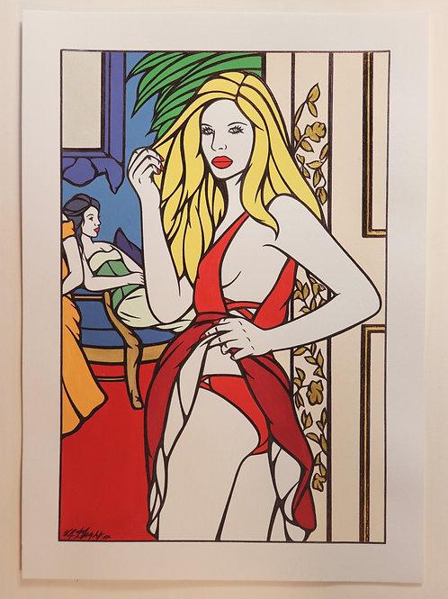 """Sophie Dumont. Dessin original sexy 26,5 x 17 cm acrylique et stylo """"BAGATELLE"""""""
