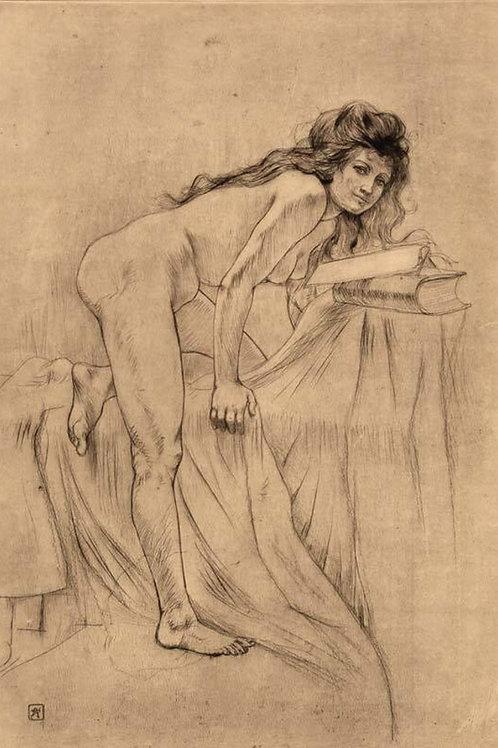 La Jeune Sorcière par Armand Rassenfosse (1897). 1 des 50 épreuves sur Japon