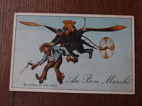 CPA fantaisie Grand Magasin Au bon Marché Paris aviation humour Police en 2000