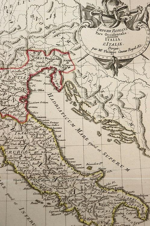 1765 1770 Map Carte géographique Atlas Philippe Prétot Moithey Italie Romaine