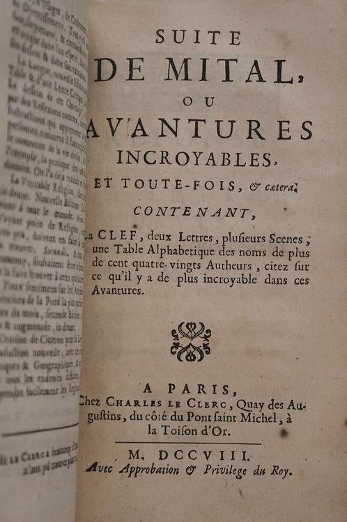 Bordelon (Abbé). Mital ou Aventures Incroyables, Prodiges et Merveilles (1708)