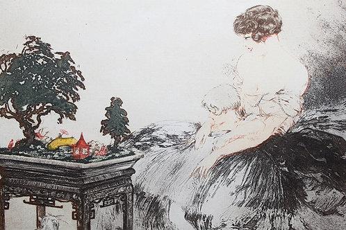 Louis Icart Le Jardin Japonais estampe aquatinte 1932