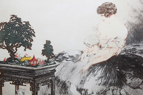 0d400bff33c Louis Icart Le Jardin Japonais estampe aquatinte 1932