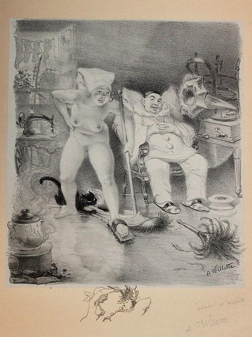 Lithographie Les Sept Péchés Capitaux La Paresse Adolphe Willette