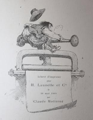 Achevé d'imprimer pour H. Launette et Cie le 30 mai 1888 par Claude Motteroez sur le Roman Comique de Scarron illustré par Edouard Zier