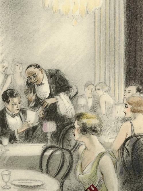 COURBOULEIX estampe aquarellée pochoir pour CHÉRI de Colette 1949 mode Café