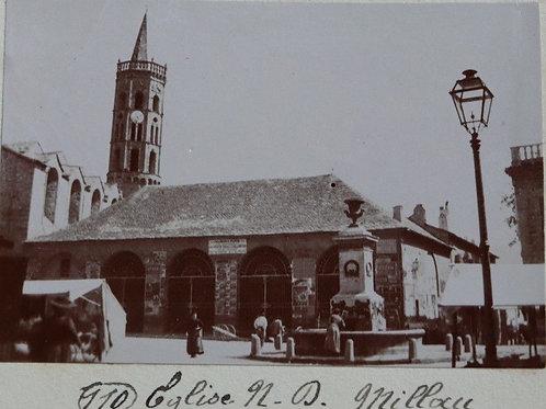 Photographie ancienne 1899 église Notre-Dame de Millau Aveyron Place fontaine