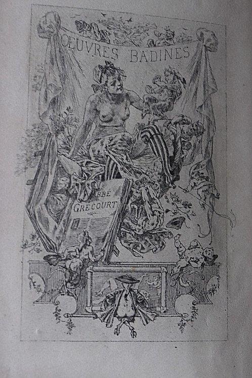 1881 Œuvres Badines Abbé Grécourt frontispice Rops N° curiosa poésie érotique
