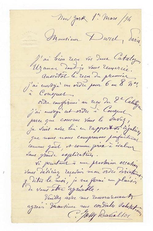 Lettre d'un bibliophile américain Jolly-Bavoillot au libraire A. Durel (1894)