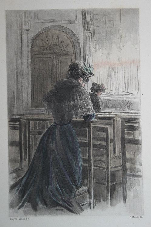 Eau-forte aquarellée Dévotion la femme à Paris Pierre Vidal
