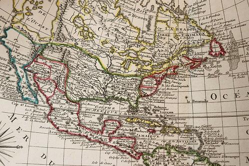 1765 1770 Map Carte géographique Atlas Philippe Prétot Moithey Amérique America