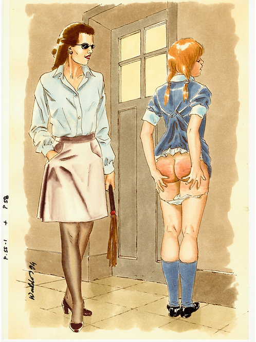 Waldo. 1994. Dessin original érotique (la maîtresse au martinet). BDSM Spanking.