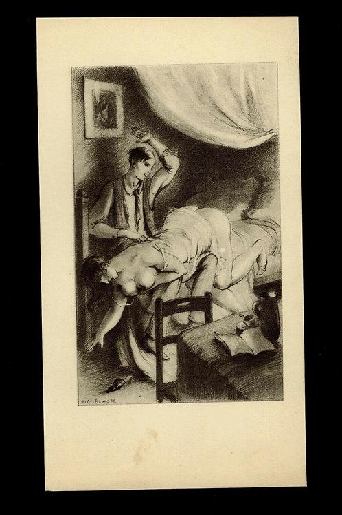 1930 Jim Black Luc Lafnet illustration héliogravure Fouet Fessée