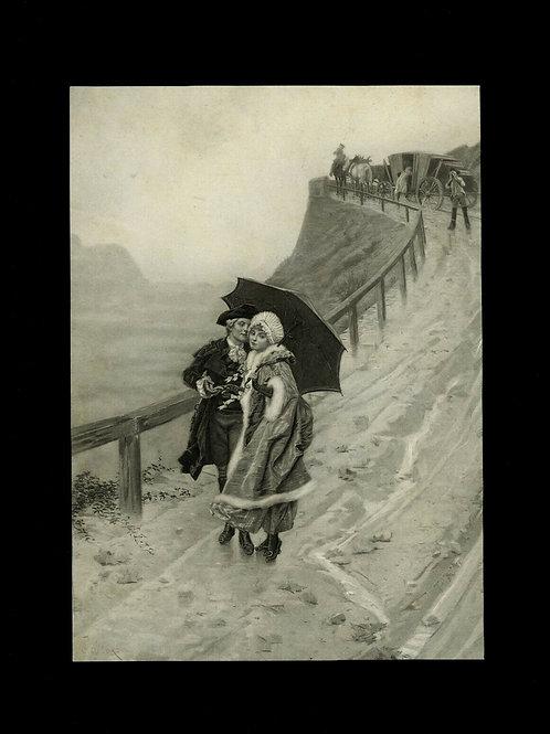 1880 1890 Estampe ancienne gravure originale femme ombrelle mode décoration
