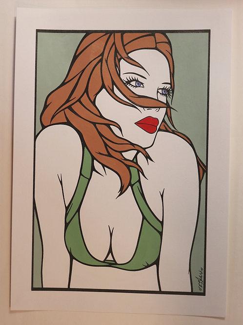 """Sophie Dumont. Dessin original sexy 26,5 x 17 cm acrylique et stylo """"DOROTHY"""""""